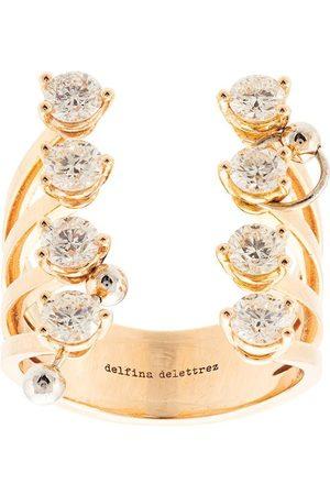 DELFINA DELETTREZ Women Rings - 18kt yellow gold pierced diamond dots ring