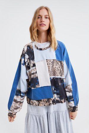 Zara Oversized contrasting patchwork sweatshirt