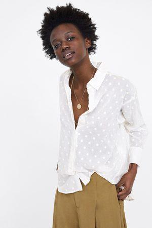 Zara Embroidered polka dot oversized blouse