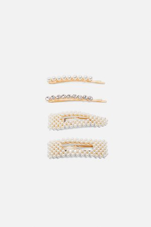 Zara Pack of pearl bead rhinestone hair clips