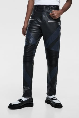 Zara Colour block faux leather biker trousers