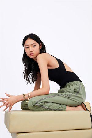 Zara Joggers with rhinestone side taping