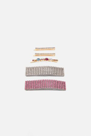 Zara Pack of rhinestone hair clips