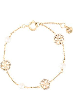 Tory Burch Crystal pearl logo bracelet