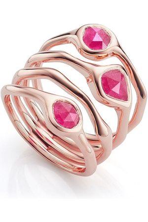 Monica Vinader Siren Cluster Cocktail Pink Quartz ring