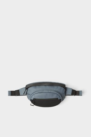 Zara Men Belts - Blue belt bag with mesh detail