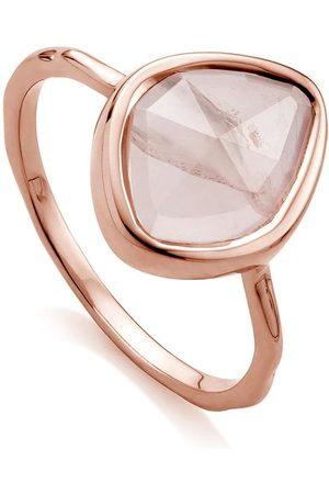 Monica Vinader Siren Small Nugget Stacking Rose Quartz ring