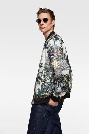 Zara Scenic print bomber jacket