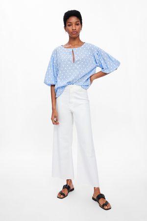 Zara Embroidered polka dot top