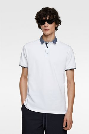 Zara Men Polo Shirts - Contrasting piqué polo shirt
