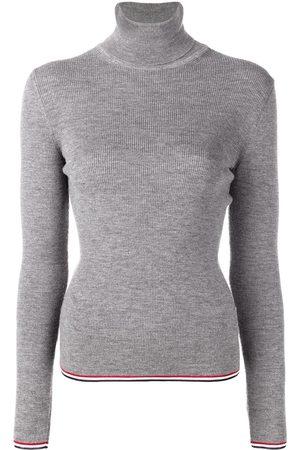 b5dbb935b1aa83 Thom Browne Women Jumpers - RWB Tipping Stripe Merino Turtleneck. Grey.  Farfetch