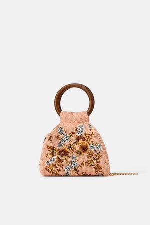 Zara Beaded crossbody bag with wooden handles