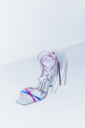 Zara Blue collection tied leather high heel sandals