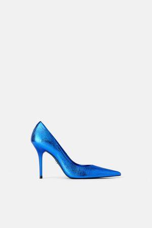 Zara Collection leather metallic high heel shoes