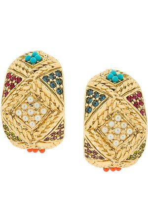 Susan Caplan 1980s Vintage D'Orlan Colourful Hoop Earrings