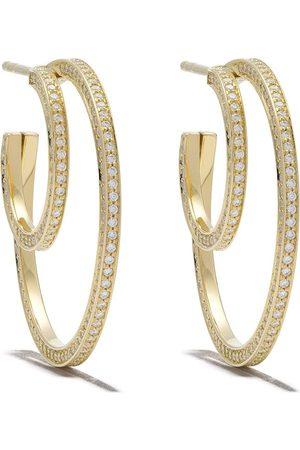 Georg Jensen 18kt Halo brilliant cut diamond ear hoops