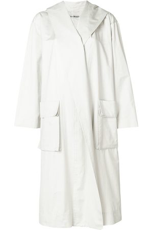 Issey Miyake Women Trench Coats - Hooded trench coat