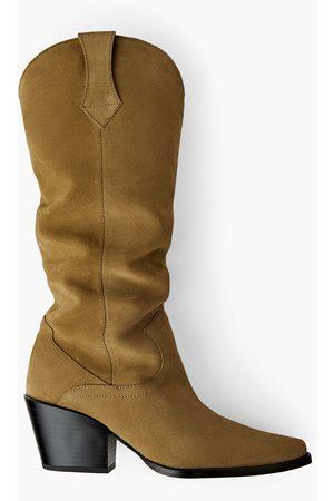 Zara Join life split suede heeled cowboy boots