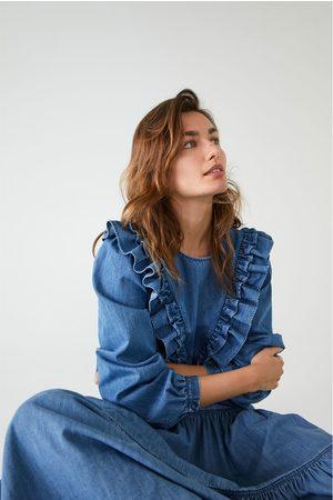 Zara Ruffled denim shirt