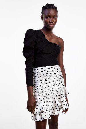 Zara Draped polka dot skirt with ruffle trim