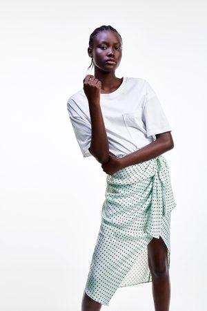 Zara Satin-finish polka dot skirt