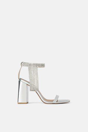 Zara Women Heels - Bejewelled metallic high heel sandals