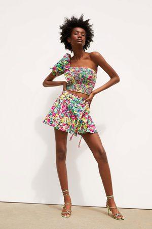 Zara Women Skorts - Printed bermuda skort