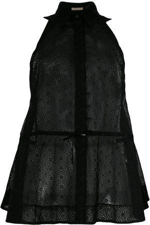 Alaïa Sheer drawstring sleeveless shirt