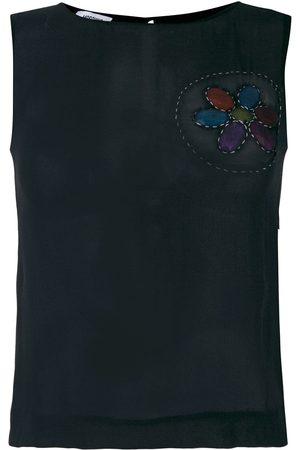 Moschino Frayed patch sleeveless blouse
