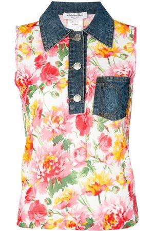 Dior Pre-owned denim collar floral vest