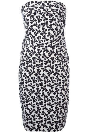 Yves Saint Laurent Bow print strapless dress