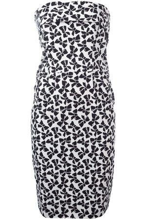 Yves Saint Laurent Women Printed Dresses - Bow print strapless dress