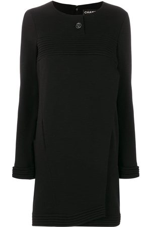 CHANEL Ribbed detail boxy dress