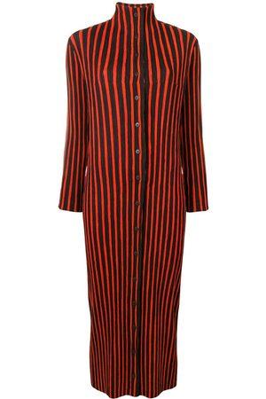 Issey Miyake Striped plissé turtleneck midi dress