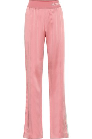 Moncler Women Wide Leg Pants - Wide-leg satin trackpants