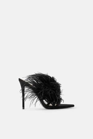 Zara High heel leather sandals with feathers