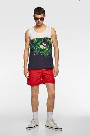 Zara Men Tank Tops - Contrast floral print tank top