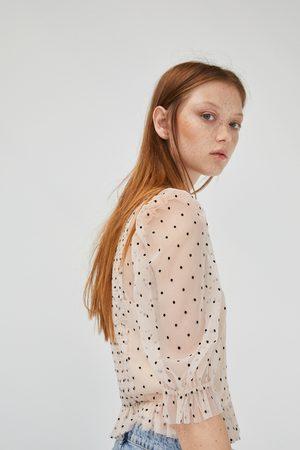 Zara Polka dot tulle top with ruffle