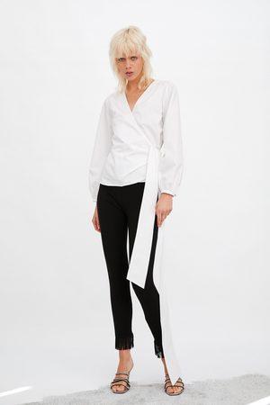Zara Poplin shirt with bow