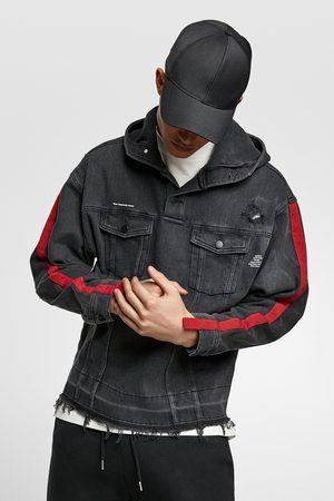 Zara Men Hoodies - Denim hoodie with taping