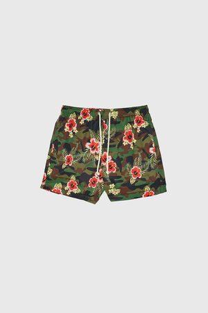 Zara Contrast camouflage swimming trunks