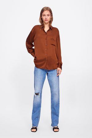 Zara Satin-finish shirt with pocket