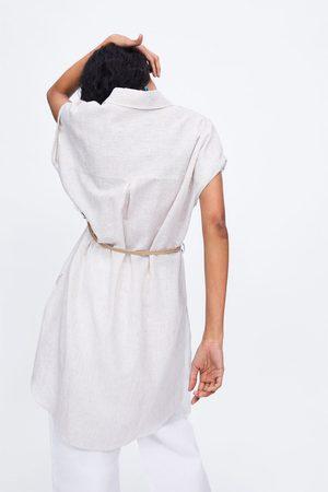 Zara Women Belts - Striped tunic with belt