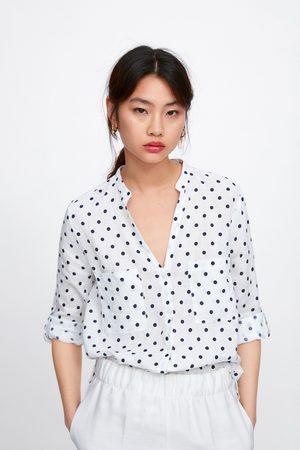 Zara Linen polka dot shirt