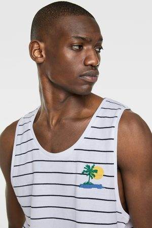 Zara Striped piqué tank top