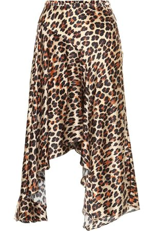 Caroline Constas Leopard-print silk-satin midi skirt