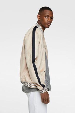 Zara Men Leather Jackets - Faux suede bomber jacket