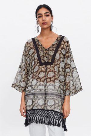 Zara Women Beachwear - Printed kaftan with metallic thread