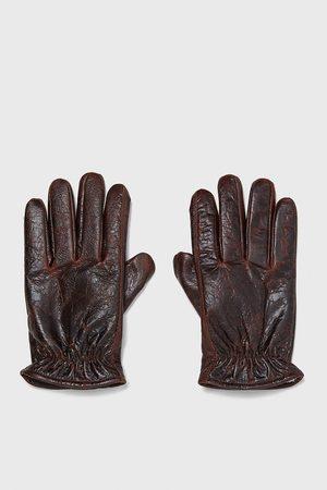 Zara Men Gloves - Contrast leather gloves