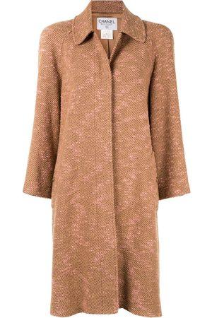 CHANEL Long sleeve two-tone tweed coat